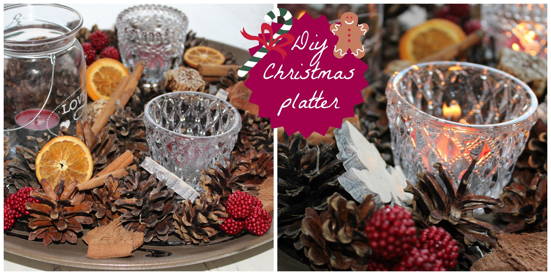 DIY christmas platter kerststukje